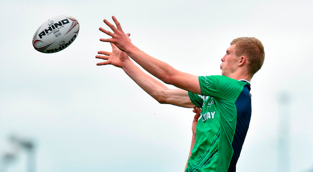 St Aloysius second-row Niall Murray in a lineout for Connacht U-18s Picture: Matt Browne / SPORTSFILE