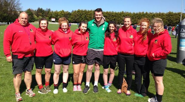 The Midleton RFC Women's Rugby Crew are joined by Munster captain Peter O'Mahony