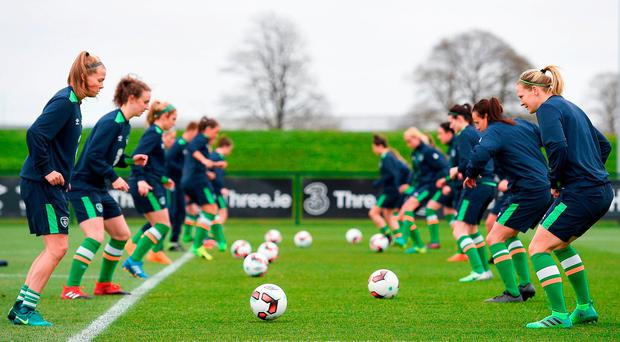 Members of the Republic of Ireland's women's squad take part in squad training at the FAI National Training Centre in Abbotstown, Dublin. Photo: Brendan Moran/Sportsfile