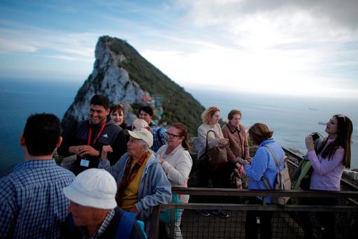 Tourists on the top of the Rock in the British overseas territory of Gibraltar. Photo: REUTERS/Jon Nazca