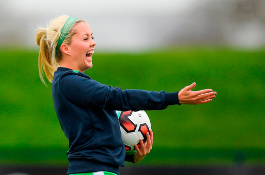 Denise O'Sullivan has a laugh during Ireland squad training at the FAI National Training Centre in Abbotstown, Dublin. Photo by Brendan Moran/Sportsfile