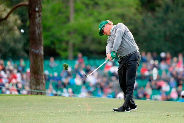 Charley Hoffman plays a shot during the first round of the 2017 Masters Tournament at Augusta National Golf Club. Photo: Rob Carr/Getty Images