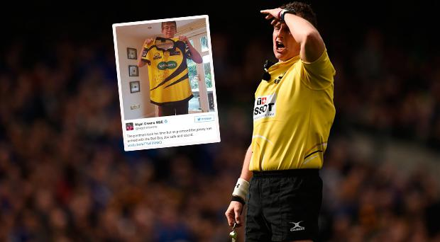 Top rugby referee Nigel Owens has delivered on his promise to a Leinster ball-boy who he dished out a yellow card to last month