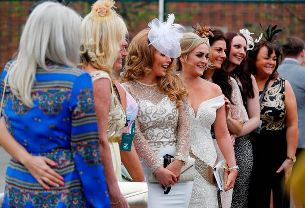 Racegoers during the Grand National Festival at Aintree