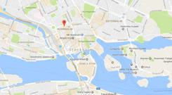 Location of the incident in Central Stockholm