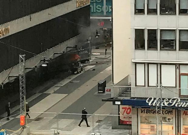 A truck have crashed into a department store Ahlens at Drottninggatan in the central of Stockholm, Sweden April 7, 2017. TT News Agency/Andreas Schyman/via REUTERS