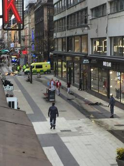 Three people killed in incident when a truck was driven Friday April 7 2017 into a department store in central Stockholm Photo: TT News Agency/Andreas Schyman/via REUTERS