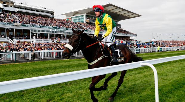 Robbie Power on Pingshou wins the Crabbie's Top Novices' Hurdle at Aintree