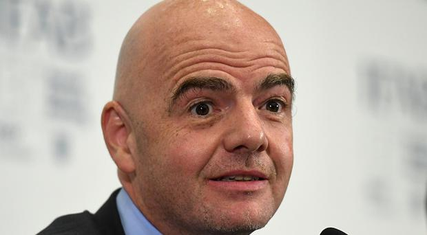 FIFA President, Gianni Infantino speaks during the IFAB Annual Meeting at Wembley Stadium on March 3. (Photo by Michael Regan - The FA/The FA via Getty Images)