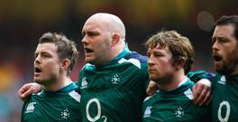 Brian O'Driscoll, John Hayes, Jerry Flannery and Marcus Horan of Ireland sing the national anthem during the RBS 6 Nations Championship match between Wales and Ireland at the Millennium Stadium on March 21, 2009 in Cardiff, Wales. (Photo by Stu Forster/Getty Images)