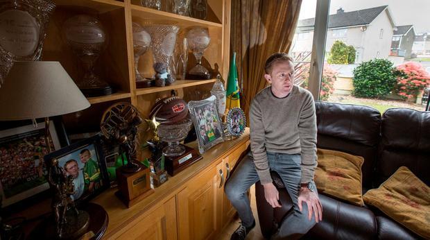 Colm 'The Gooch' Cooper, who announced his retirement from inter-county football with Kerry this week, pictured in his Mothers sitting room. Pic:Mark Condren