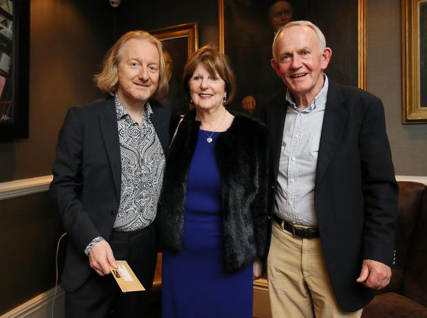 Barry Egan , organiser of the Rock Against Homelessness concert pictured with Leslie Buckley Chairman of Independent News and Media and his wife Carmel (Picture:Frank Mc Grath)