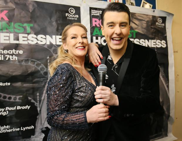 Katherine Lynch and Al Porter pictured before going on stage to MC the Rock Against Homelessness in the Olympia Theatre (Picture:Frank Mc Grath)