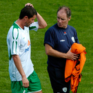 Brian Kerr with Roy Keane during his time as Ireland manager. Photo: Sportsfile