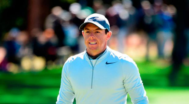 Rory McIlroy reacts to his bogey on the first hole during the second round of the masters yesterday. Photo: Getty