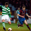 Shamrock Rovers Samul Bone shapes to launch the ball ahead of Drogheda United's Mark Doyle. Photo: Sportsfile
