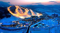 An aerial view of the South Korean ski resort of Alpensia, which will host some of the events.