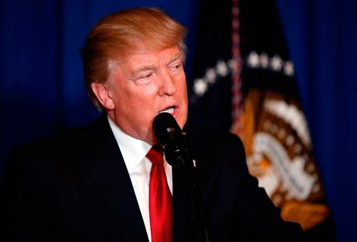 President Donald Trump speaks after the US fired a barrage of cruise missiles into Syria Photo: AP