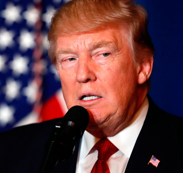 US President Donald Trump gives a statement about the missile strikes on a Syrian airfield, at his Mar-a-Lago estate in Florida Photo: AP Photo/Alex Brandon