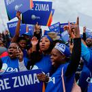 Members of the main opposition Democratic Alliance party in Johannesburg, Friday, April 7, 2017, as thousands of South Africans demonstrate in major cities against President Jacob Zuma. Photo: AP