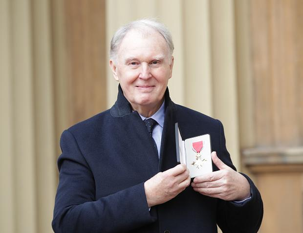 Actor Tim Pigott-Smith at Buckingham Palace in London after receiving his OBE from the Duke of Cambridge. on March 2, 2017 in London, England. (Photo by Yui Mok - WPA Pool/Getty Images)