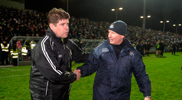 18 March 2017; Kerry manager Eamonn Fitzmaurice and Dublin manager Jim Gavin exchange a handshake after the Allianz Football League Division 1 Round 5 match between Kerry and Dublin at Austin Stack Park in Tralee, Co Kerry. Photo by Diarmuid Greene/Sportsfile