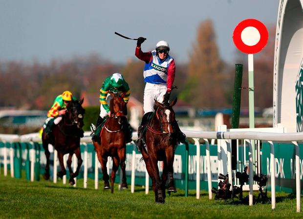 One For Arthur ridden by Derek Fox crosses the line to win the Randox Health Grand National on Grand National Day of the Randox Health Grand National Festival at Aintree Racecourse. PRESS ASSOCIATION Photo. Picture date: Saturday April 8, 2017. See PA story RACING Aintree. Photo credit should read: David Davies/PA Wire