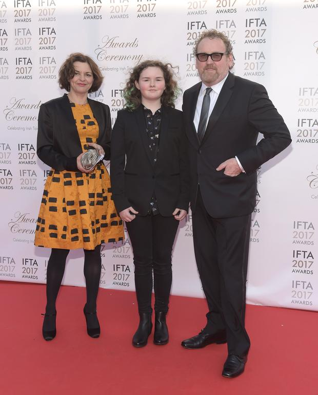 Colm Meaney with his wife Ines Glorian and daugter Ada arriving on the red carpet for the IFTA Awards 2017 at the Mansion House, Dublin. Photo: Michael Chester