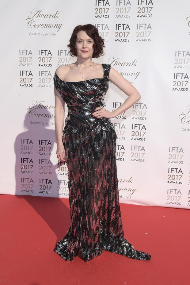 Simone Kirby arriving on the red carpet for the IFTA Awards 2017 at the Mansion House, Dublin. Photo by Michael Chester