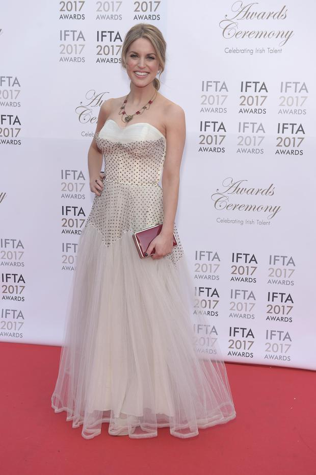Amy Huberman arriving on the red carpet for the IFTA Awards 2017 at the Mansion House, Dublin. Picture: Michael Chester