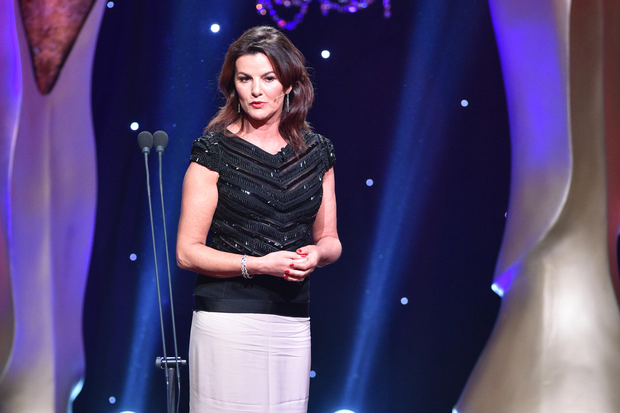 Deirdre O'Kane on stage presenting the IFTA Awards 2017 at the Mansion House. Picture: Michael Chester