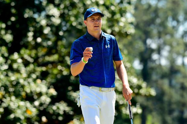 Jordan Spieth of the United States reacts to making par on the first hole during the third round of the 2017 Masters Tournament at Augusta National Golf Club on April 8, 2017 in Augusta, Georgia. (Photo by Harry How/Getty Images)