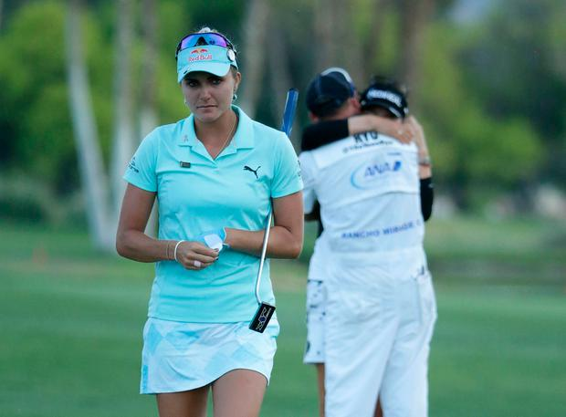Thompson (pictured) was leading the event, one of the five majors in women's golf, and playing the ninth hole of the final round when she was told that she had just been penalised four strokes. Photo: Getty