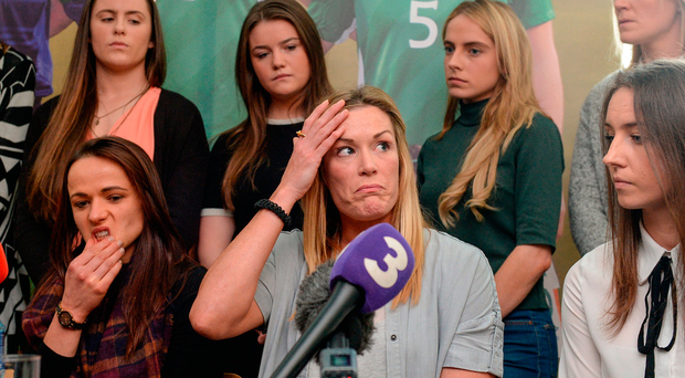 Republic of Ireland women's national team captain Emma Byrne (centre) with team-mates during a press conference at Liberty Hall. Photo: Cody Glenn/Sportsfile