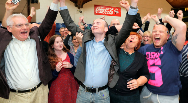 Tenacious: AAA candidate Paul Murphy, centre, was elected in 2014 on the back of his Right2Water activism Photo: Gerry Mooney