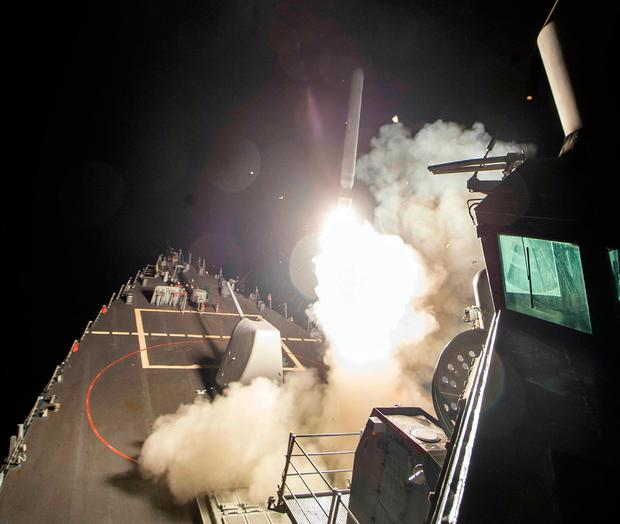 An image provided by the US Navy of the USS Ross firing a Tomahawk missile on Friday Photo: Mass Communication Specialist 3rd Class Robert S. Price/U.S. Navy via AP