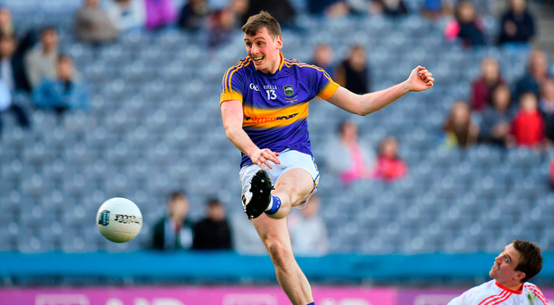 Star man Conor Sweeney scores Tipperary's second goal during the Allianz Football League Division 3 final against Louth. Photo: Sportsfile