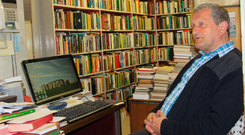 Onward march of progress: Sean Day at his desk in Carraig Books Photo: Liam Collins