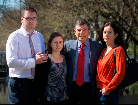 Members of the Deely family, Mark, Pamela, Michael and Michele, beside Baggot Street Bridge in Dublin, close to where Trevor Deely was last seen