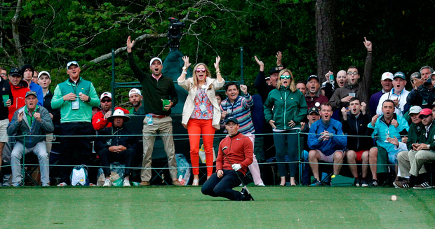 Rory McIlroy almost makes a hole in one on the 16th during the fist round of the Masters. Photo: Brian Snyder/Reuters