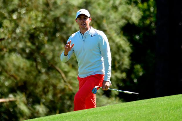 Rory McIlroy of Northern Ireland waves on the second hole during the third round of the 2017 Masters Tournament at Augusta National Golf Club. (Photo by Harry How/Getty Images)