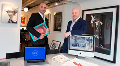 David Douglas of Ebow with Sean Gallagher at his Dublin office Picture: David Conachy