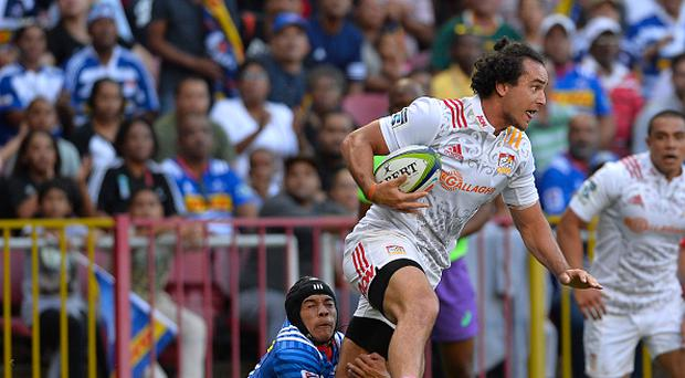 CAPE TOWN, SOUTH AFRICA - APRIL 08: James Lowe of the Chiefs tackled by Cheslin Kolbe of the Stormers during the Super Rugby match between DHL Stormers and Chiefs at DHL Newlands on April 08, 2017 in Cape Town, South Africa. (Photo by Ashley Vlotman/Gallo Images/Getty Images)