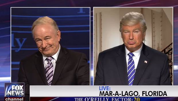 Alec Baldwin as Donald Trump and Bill O'Reilly on Saturday Night Live. Image: NBC