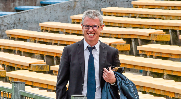 24 May 2015; Former Derry footballer and RTÉ analyst Joe Brolly makes his way to the game. Munster GAA Hurling Senior Championship Quarter-Final, Clare v Limerick. Semple Stadium, Thurles, Co. Tipperary. Picture credit: Ray McManus / SPORTSFILE
