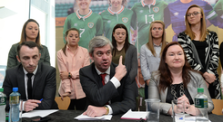 PFAI Solicitor Stuart Gilhooly, centre, speaks alongside Ollie Cahill, left, of PFAI, and Ethel Buckley, SIPTU Services Division, and Republic of Ireland Women's National Team players during a women's national team press conference at Liberty Hall in Dublin. Photo by Cody Glenn/Sportsfile