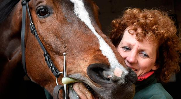 Grand National winner One For Arthur seems to be laughing at all the attention alongside trainer Lucinda Russell at her yard in Kinross, Scotland, yesterday. Photo credit: Ian Rutherford/PA Wire.