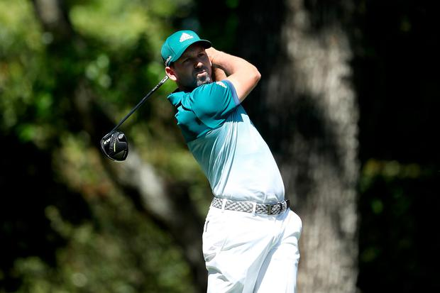 Sergio Garcia of Spain plays his shot from the second tee during the final round of the 2017 Masters Tournament at Augusta National Golf Club in Augusta, Georgia. (Photo by David Cannon/Getty Images)