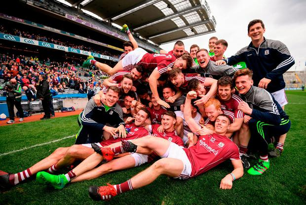 Galway players celebrate following their Allianz Football League Division 2 Final victory at Croke Park. Photo: Stephen McCarthy/Sportsfile