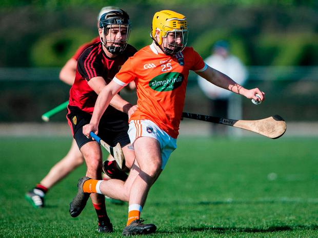 Stephen Keenan in action for Armagh against Down's Andrew Bell. Photo: James McCann/Sportsfile